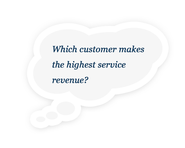 Which customer makes the highest service revenue?
